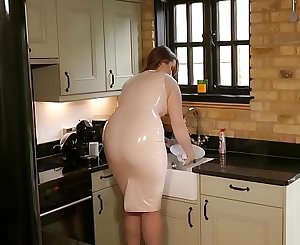 Taboo Step Mum in Latex Teases Step Son with her big Ass