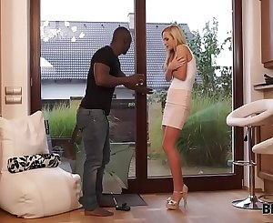 BLACK4K. Lovely babe in brief mini-skirt wants huge dick of black paramour