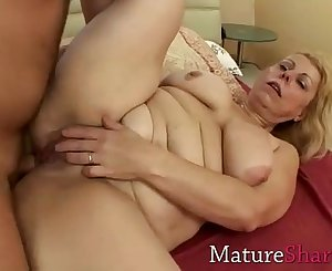 Chubby mom gets her virgin ass drilled
