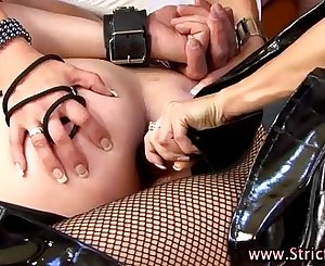 Tied loser fucked with dildo